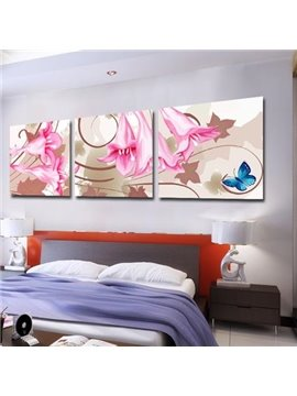 New Arrival Pretty Pink Lily Flowers and Blue Butterfly Print 3-piece Cross Film Wall Art Prints