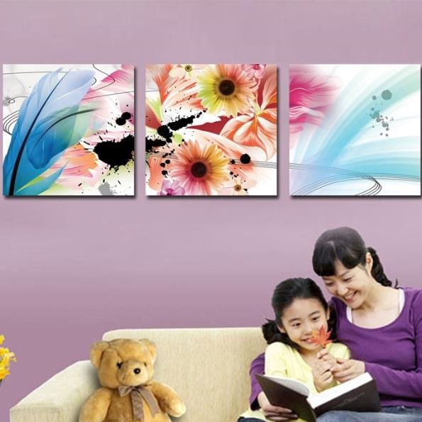New Arrival Lovely Colorful Flowers and Feather Print 3-piece Cross Film Wall Art Prints