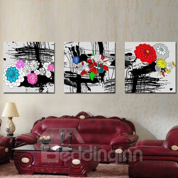 New Arrival Pretty Colorful Flowers and Black Scratches Print 3-piece Cross Film Wall Art Prints
