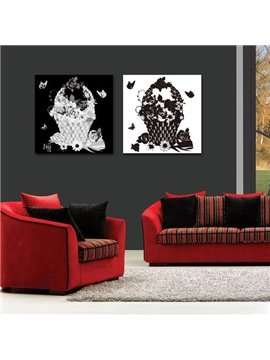 New Arrival Beautiful Black and White Flower Baskets Print 2-piece White Cross Film Wall Art Prints
