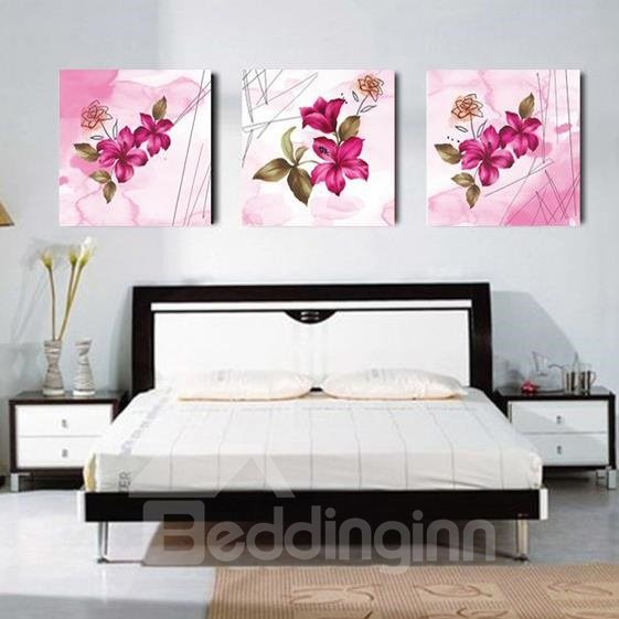 New Arrival Pretty Purple Lily Flowers and Leaves Print 3-piece Cross Film Wall Art Prints