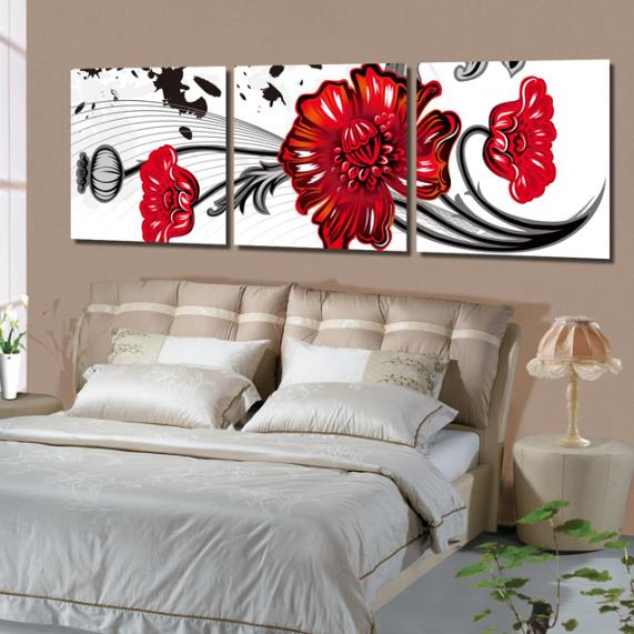 New Arrival Lovely Big Red Cartoon Flowers Print 3-piece Cross Film Wall Art Prints