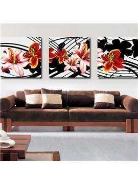 New Arrival Pretty Pink and Brown Lily Flowers Print 3-piece Cross Film Wall Art Prints