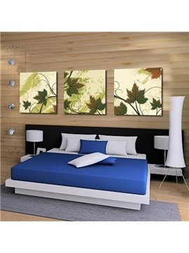 New Arrival Elegant Green Maple Leaves Print 3-piece Cross Film Wall Art Prints