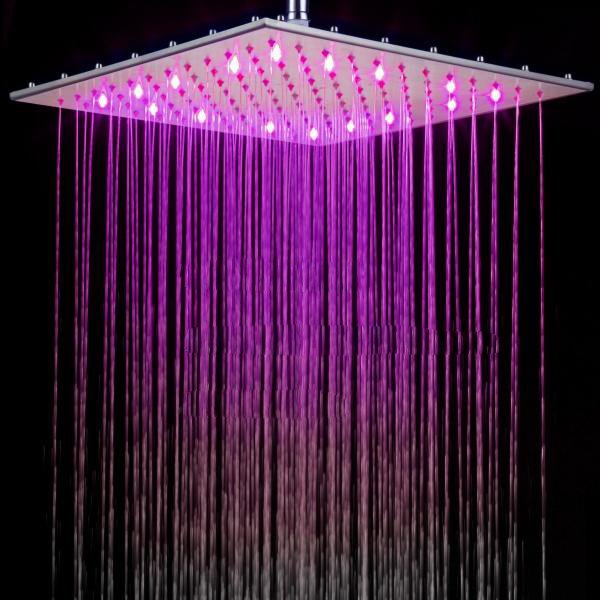 16 Inches All Copper LED Color-changing Shower Head Faucet