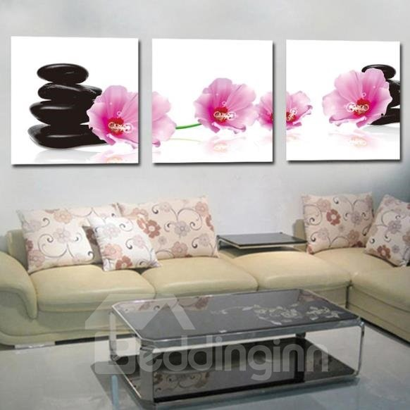 New Arrival Lovely Pink Flowers and Black Cobblestones Print 3-piece Cross Film Wall Art Prints
