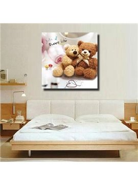 New Arrival Cute Couple Bears Print Cross Film Wall Art Prints