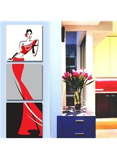 16×16in×3 Panels Graceful Lady in Red Dress Printed Canvas Hanging Framed Wall Prints