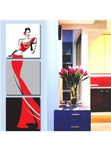 Graceful Lady in Red Dress Print 3-piece Cross Film Wall Art Prints