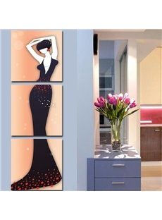 Elegant Lady in Dark Purple Dress Print 3-piece Cross Film Wall Art Prints