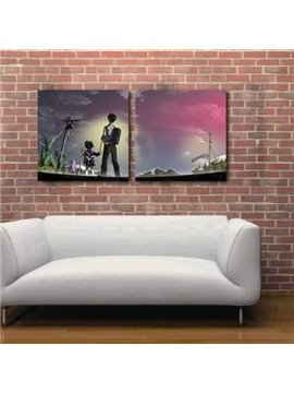 New Arrival Lovely Kids Looking at the Sky Cartoon Print 2-piece White Cross Film Wall Art Prints
