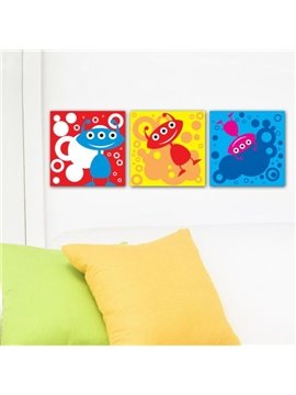 New Arrival Lovely Colorful Cartoon Animals Print 3-piece Cross Film Wall Art Prints