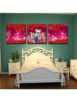 New Arrival Lovely Lovers and Red Roses Print 3-piece Cross Film Wall Art Prints