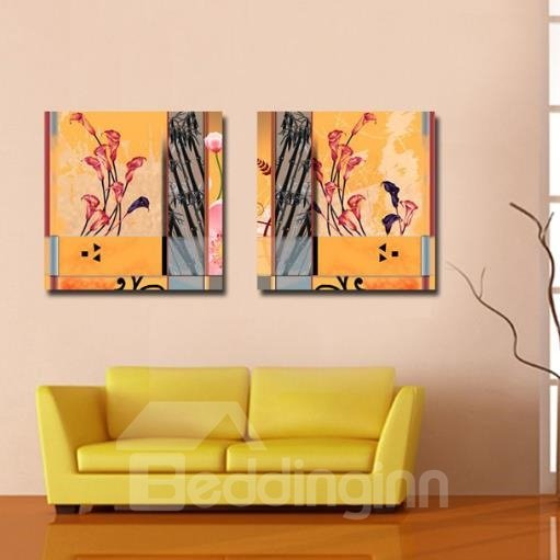 New Arrival Stylish Callas and Bamboo Print 2-piece White Cross Film Wall Art Prints