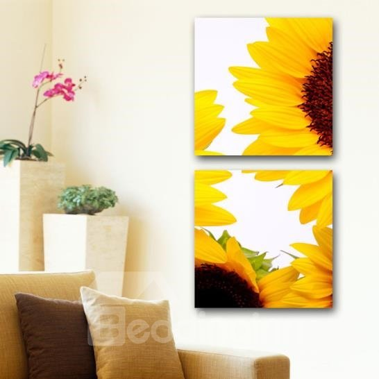 New Arrival Bright Sunflowers Print 2-piece White Cross Film Wall Art Prints