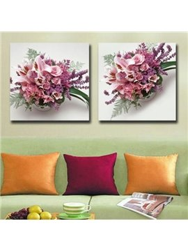 New Arrival Beautiful Pink Flower Sets Print 2-piece White Cross Film Wall Art Prints