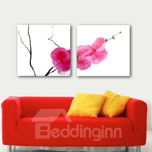 New Arrival Lovely One Branch of Pink Flowers Print 2-piece White Cross Film Wall Art Prints