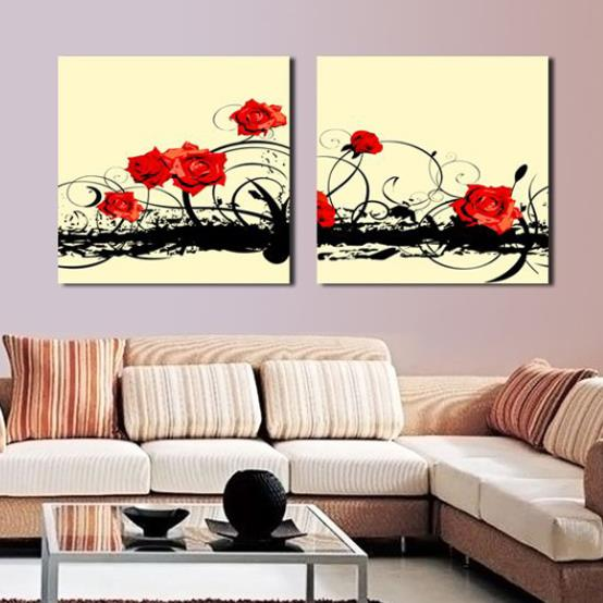 New Arrival Lovely Red Roses Painting Print 2-piece White Cross Film Wall Art Prints