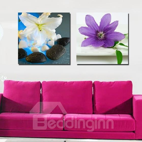 New Arrival Lovely White and Purple Flowers Print 2-piece White Cross Film Wall Art Prints