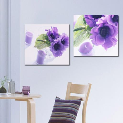 New Arrival Beautiful Purple Flowers and Candles Print 2-piece White Cross Film Wall Art Prints