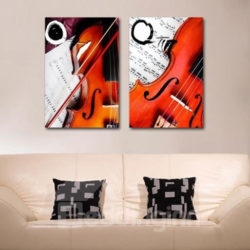 New Arrival Elegant Violin and Fiddle-stick Print 2-piece Cross Film Wall Art Prints