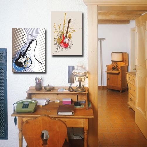 New Arrival Cool Electric Guitar Print 2-piece Cross Film Wall Art Prints