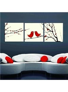 New Arrival Lovely Red Birds Standing on Branches Print 3-piece Cross Film Wall Art Prints