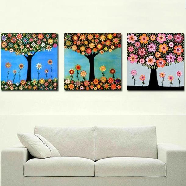 New Arrival Lovely Small Flowers on the Tree Print 3-piece Cross Film Wall Art Prints