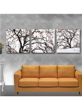 New Arrival Lovely Trees and Snow Print 3-piece Cross Film Wall Art Prints