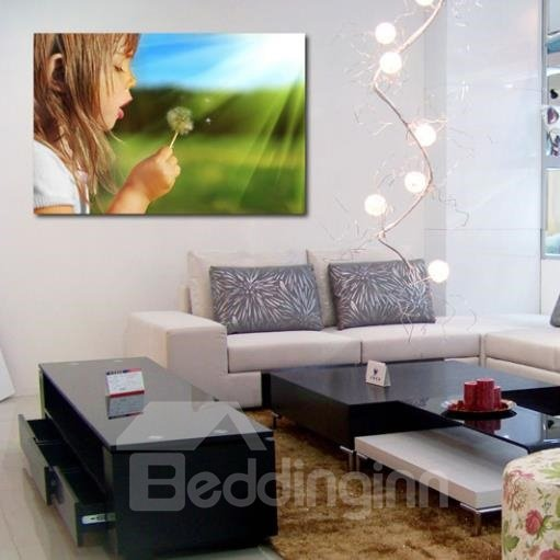 New Arrival Cute Girl Blowing Dandelion Print Cross Film Wall Art Prints