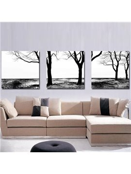 New Arrival Elegant Black Trees Print 3-piece Cross Film Wall Art Prints