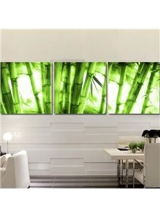Natural Green Bamboos Print 3-piece Cross Film Wall Art Prints