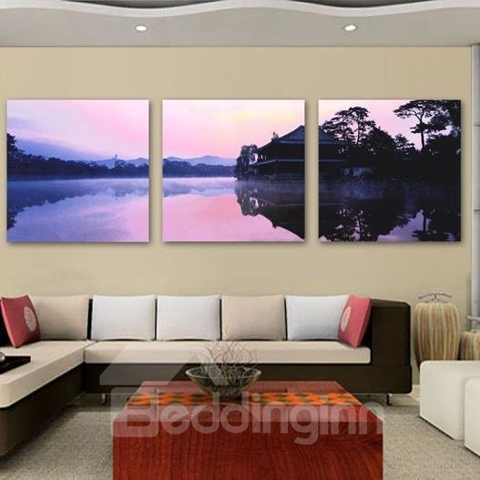 New Arrival Beautiful Purple Lake Scenery and Shadow Print 3-piece Cross Film Wall Art Prints