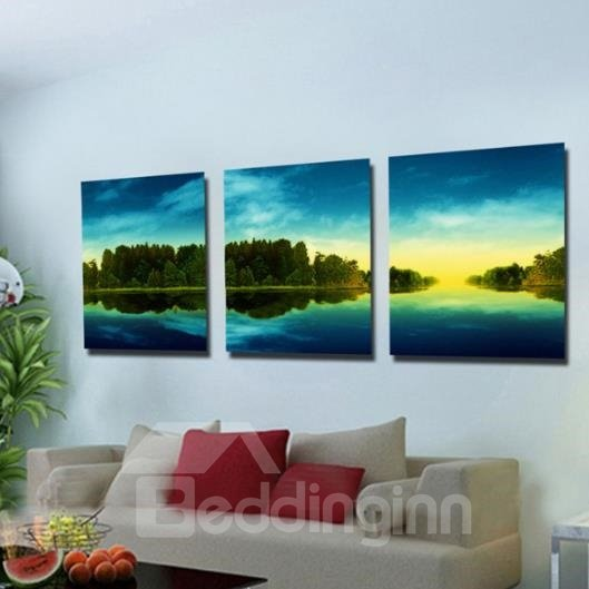 New Arrival Beautiful Green Trees and Blue Sky Print 3-piece Cross Film Wall Art Prints