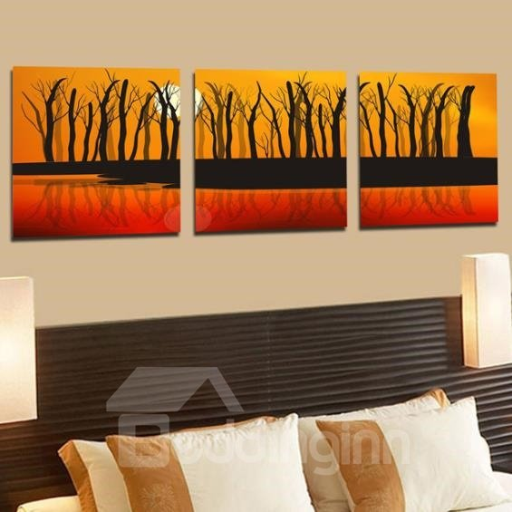 New Arrival Elegant Withered Trees at Dusk Print 3-piece Cross Film Wall Art Prints