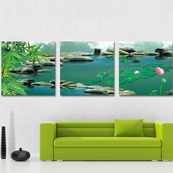 New Arrival Beautiful Lotus and Cobblestones Print 3-piece Cross Film Wall Art Prints