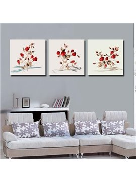 New Arrival Lovely Red Roses and Leaves Print 3-piece Cross Film Wall Art Prints