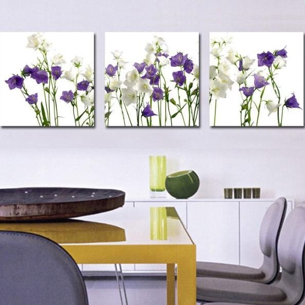 New Arrival Lovely Purple and White Flowers Print 3-piece Cross Film Wall Art Prints