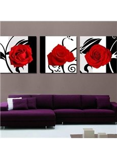 New Arrival Beautiful Red Roses and Black Patterns Print 3-piece Cross Film Wall Art Prints