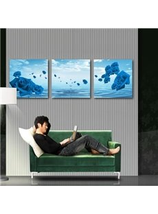 New Arrival Amazing Blue Roses and Water Drops Print 3-piece Cross Film Wall Art Prints