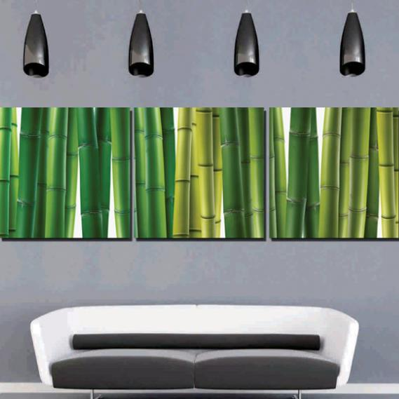 New Arrival Lovely Green Bamboo Joints Print 3-piece Cross Film Wall Art Prints