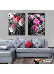 New Arrival Beautiful Red and Purple Flowers Print 2-piece Cross Film Wall Art Prints
