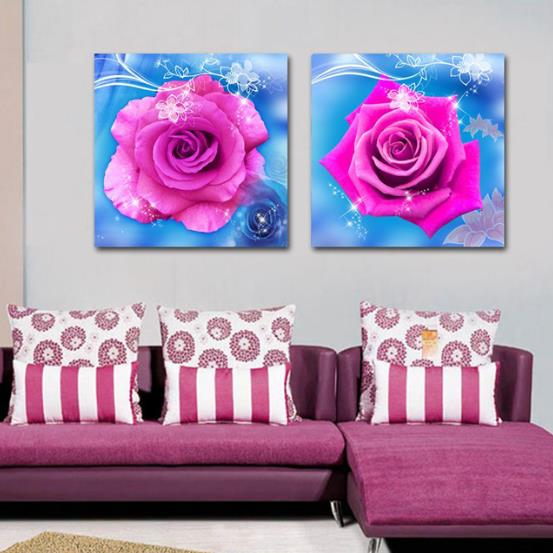 New Arrival Lovely Pink Roses Blue Borders Print 2-piece Cross Film Wall Art Prints