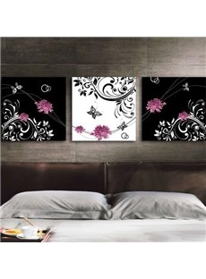New Arrival Lovely Pink Peony Flowers and Floral Borders Print 3-piece Cross Film Wall Art Prints