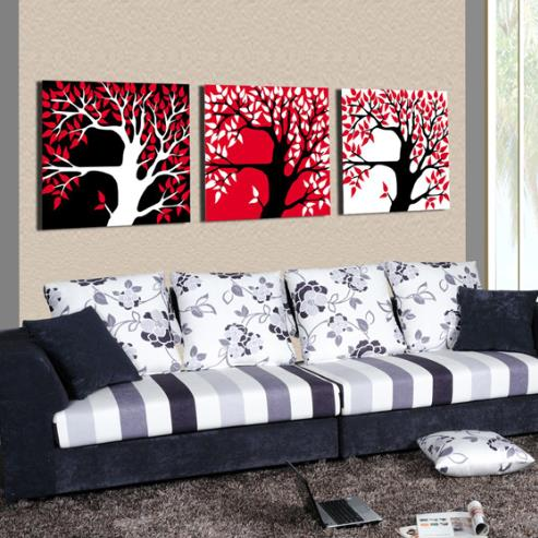 New Arrival Modern Red Black and White Trees Print 3-piece Cross Film Wall Art Prints