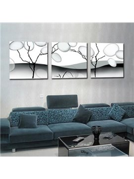 New Arrival Elegant Grey Tree Trunk and Bubbles Print 3-piece Cross Film Wall Art Prints