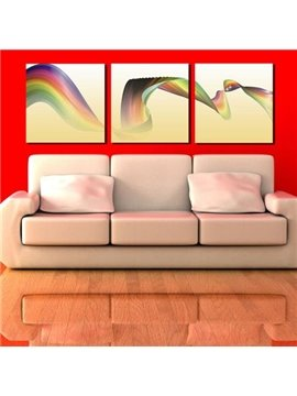 New Arrival Beautiful Rainbow Ribbon Print 3-piece Cross Film Wall Art Prints