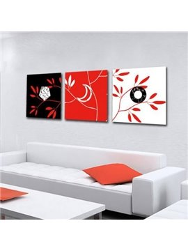 New Arrival Modern Tree Twigs Print 3-piece Cross Film Wall Art Prints