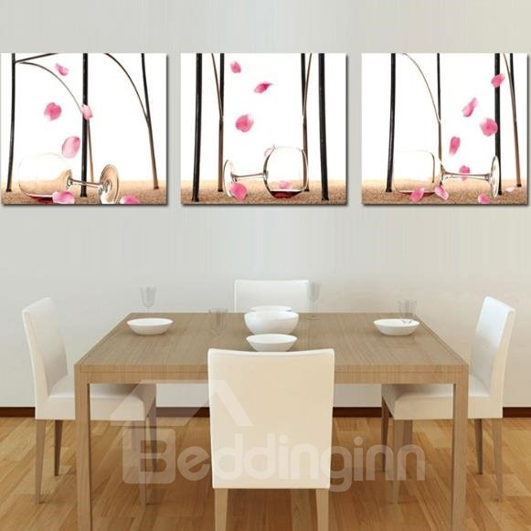 New Arrival Lovely Wine Glasses and Pink Petals Print 3-piece Cross Film Wall Art Prints