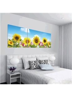 New Arrival Lovely Bright Sunflowers and Blue Sky Print 3-piece Cross Film Wall Art Prints